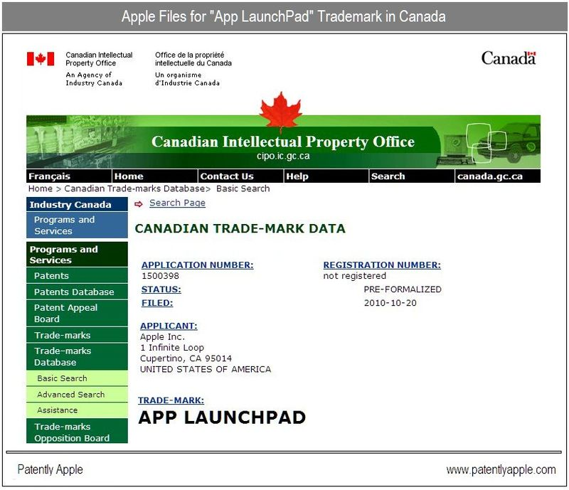 Update Oct 27, 2010 - Canadian IP Office - Apple Inc, App LaunchPad trademark application-in-part