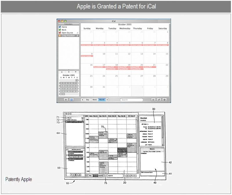 4 - apple wins patent for iCal - nov 23, 2010
