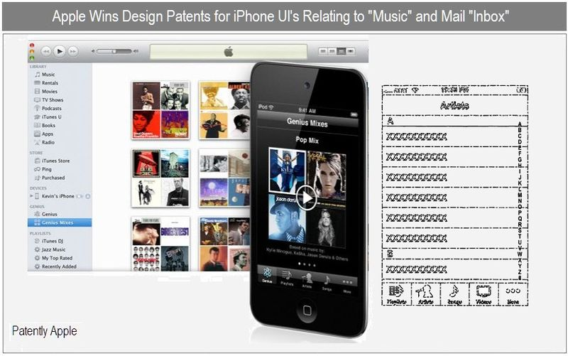 3 - Apple Inc - granted patents for iPhone UI's for music and mail inbox - nov 30, 2010