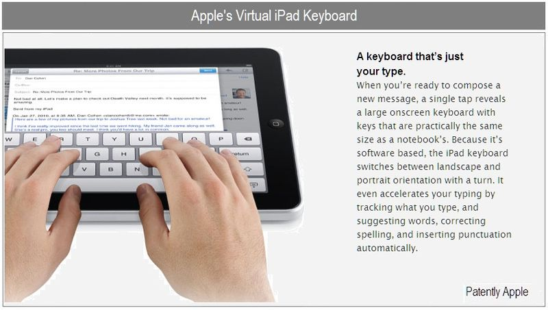 5 - Apple's virtual iPad keyboard - example of virutual keyboard