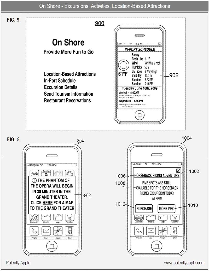6 - On Shore - excursions, activities, location based attractions - iTravel Cruises - apple nfc patent 2010