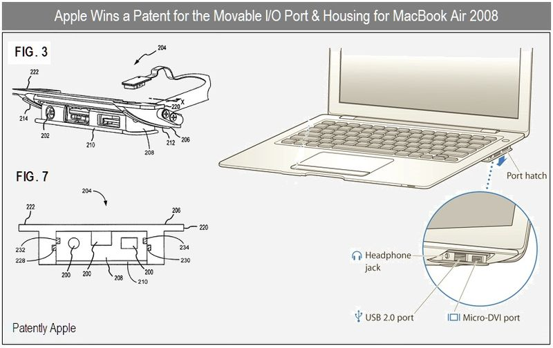 5 - apple wins patent for moveable IO and housing - used in  macbook air 2008 - patent 2010 Dec
