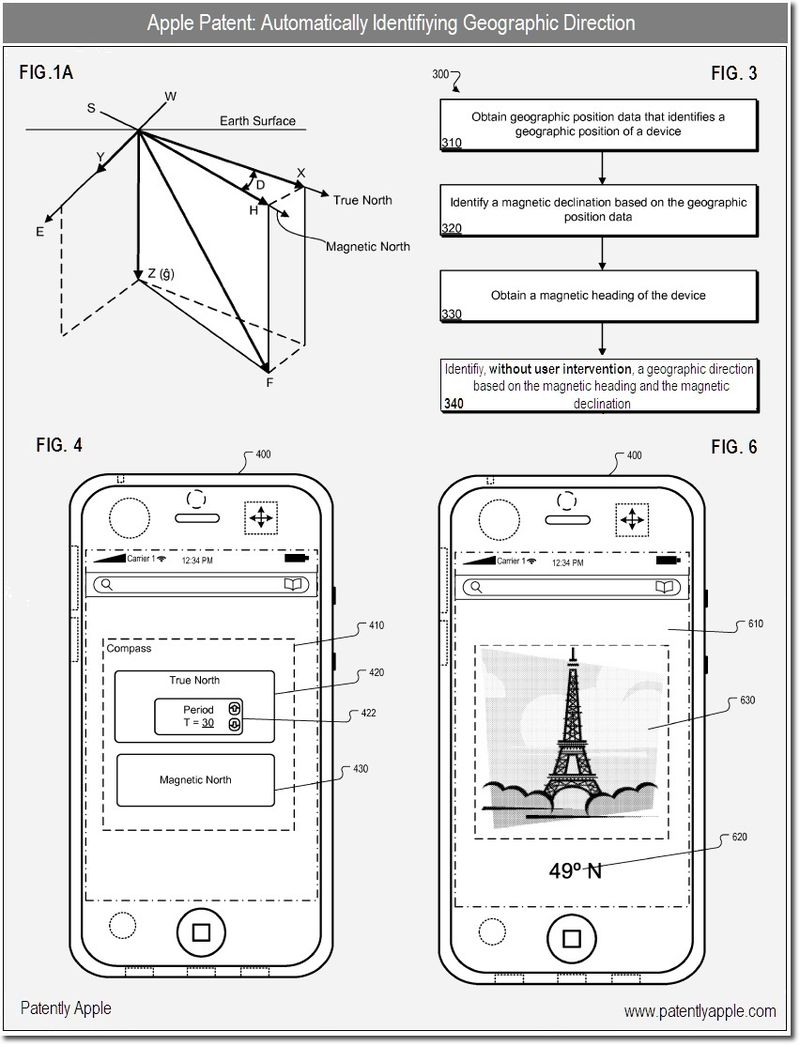 3S - Apple patent - auto identifying Geographic direction - dec 10, 2010