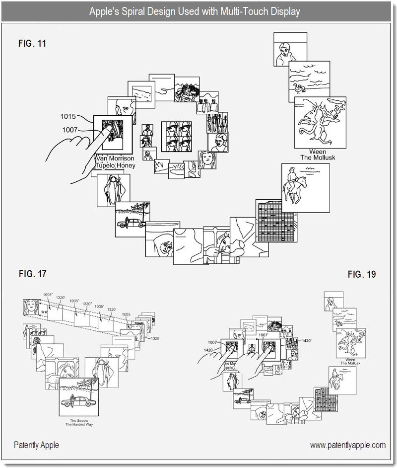 3 - Apple's spiral UI on touch display - patent 2010
