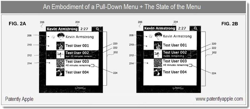 3 - embodiment of a pull down menu + the state of the menu  -  Apple patent - dec 21, 2010