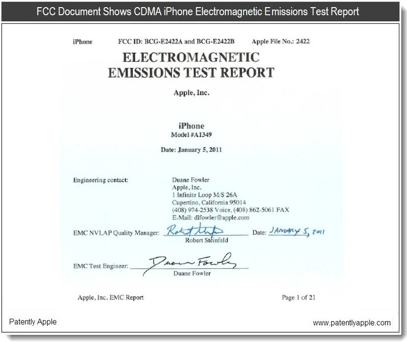 2 - FCC doc -- CDMA iPhone electromagnetic emmissions Test Report - Apple - Jan 5, 2011 - page 1