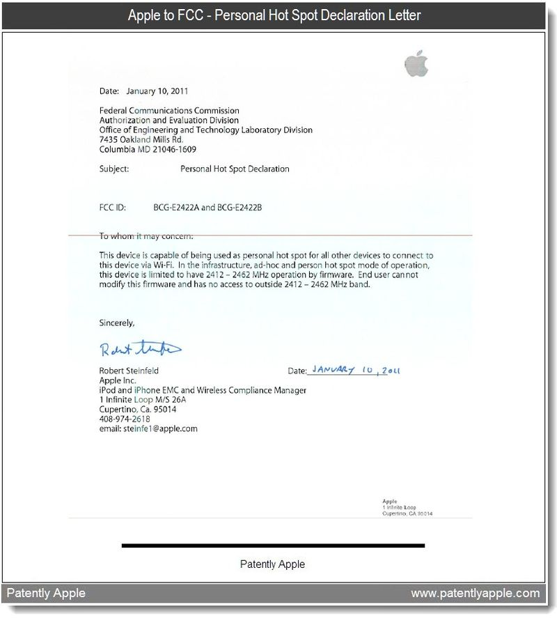 6 - Apple to FCC letter - Personal Hot Spot Declaration - Jan 13, 2011 -