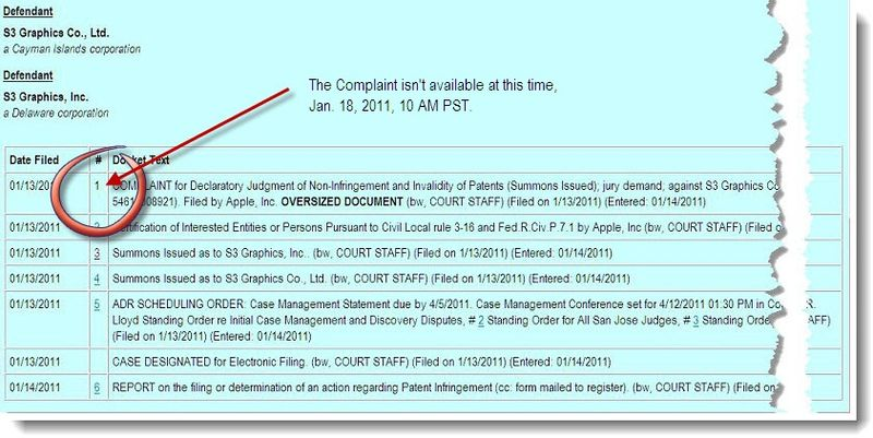 2A -  Apple S3 GRAPHICS docket report - Jan 18, 2011