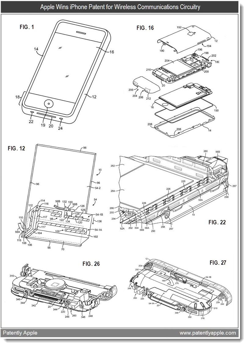 5 - iPhone patent for wireless communications circuitry - jan 2011