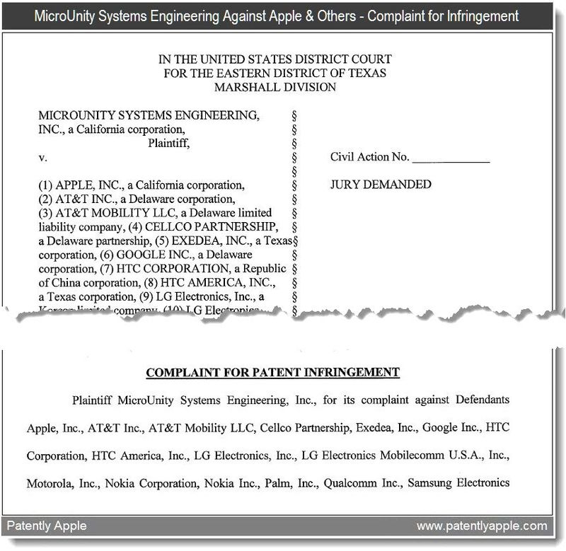 2 -  Complaint - microunity vs apple - court doc in-part - jan 2011