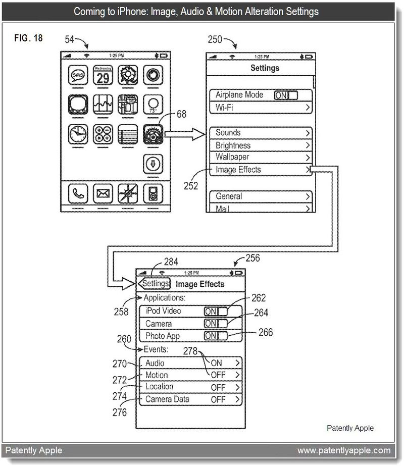 3 - FIG. 18 - IMAGE, AUDIO, LOCATION, MOTION ALTERATION SETTINGS - FEB 2011 PATENT - APPLE