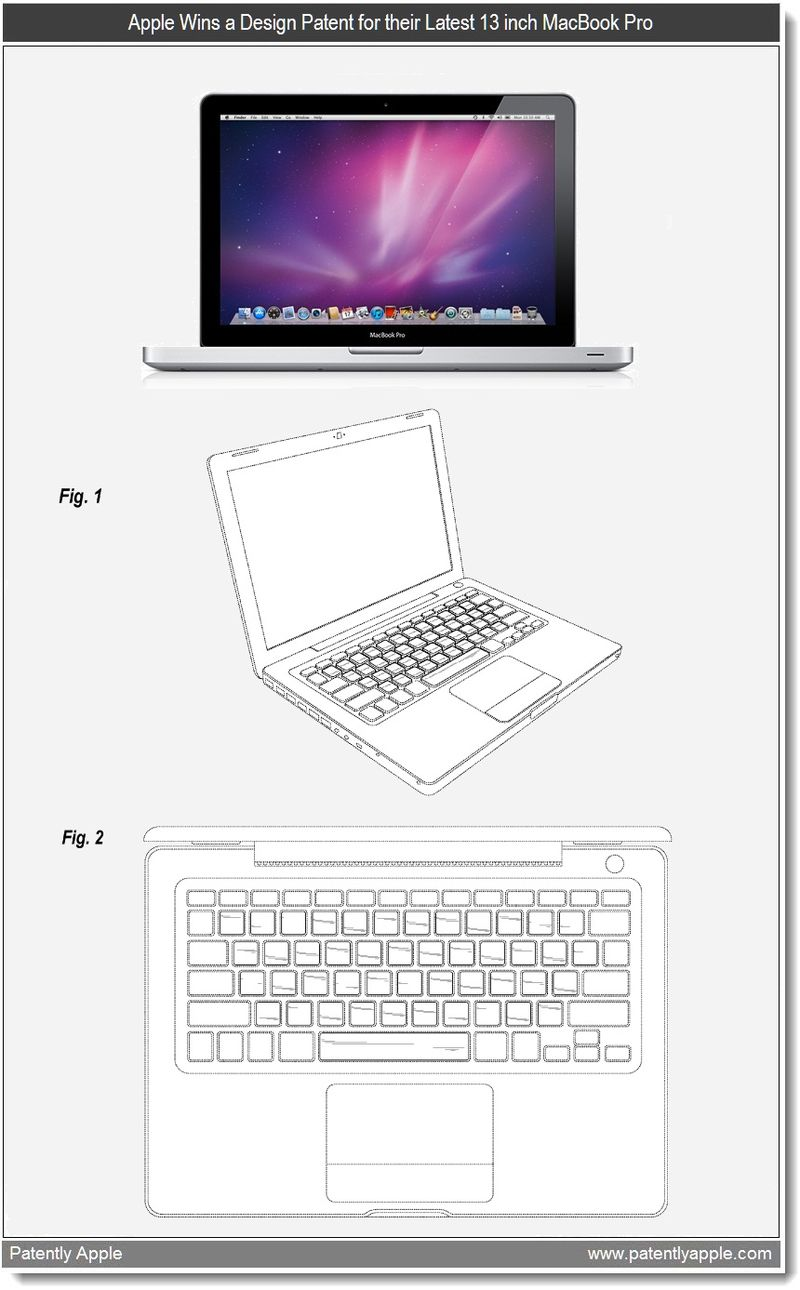 4 - Apple granted patent - 13 inch MacBook Pro Industrial Design - mar 2011