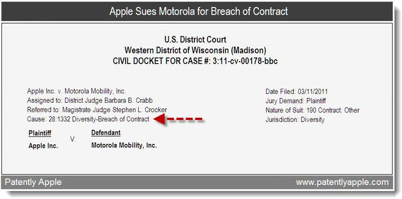 Xtra 2b- apple sues motorola for breach of contract - mar 2011