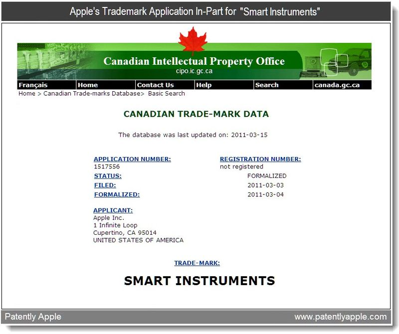 3 - Apple Inc's Trademark application in-part for smart-instruments - march 2011