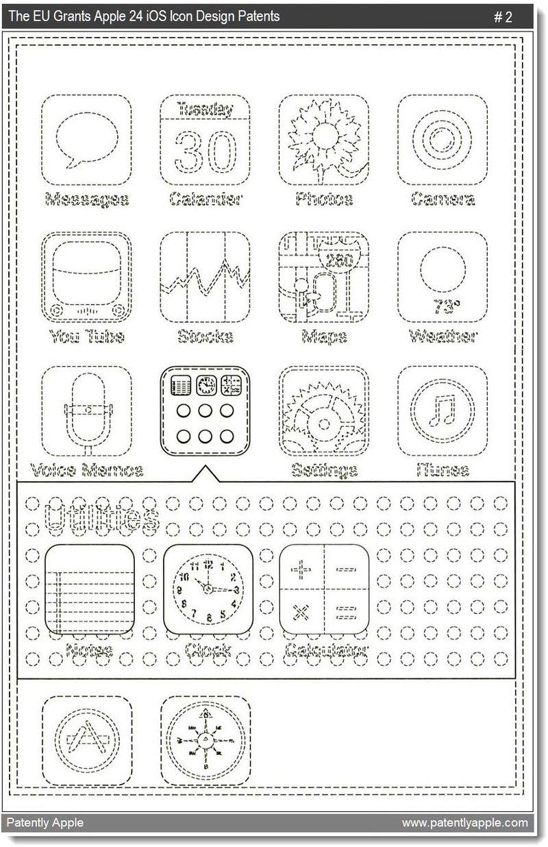 4 - The EU Grants Apple 24 iOS design patents - mar 2011