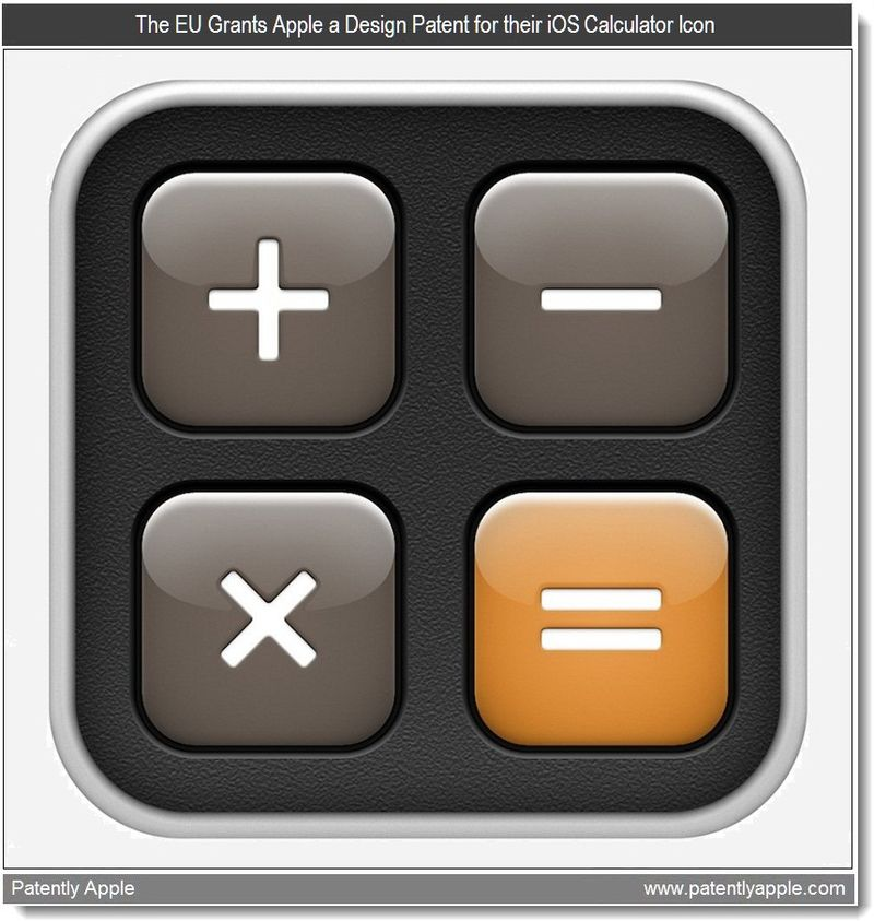 8 - The EU Grants Apple a Design Patent for their iOS Calculator Icon - Mar 2011