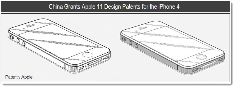 Chna Grants Apple 11 Design Patents for the iPhone 4 - Mar 20, 2011