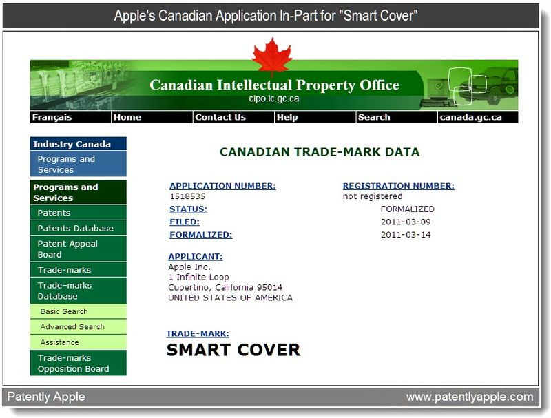 2 - Apple Trademark - Smart Cover - Canadian IP Office Application In-Part - Mar 23, 2011