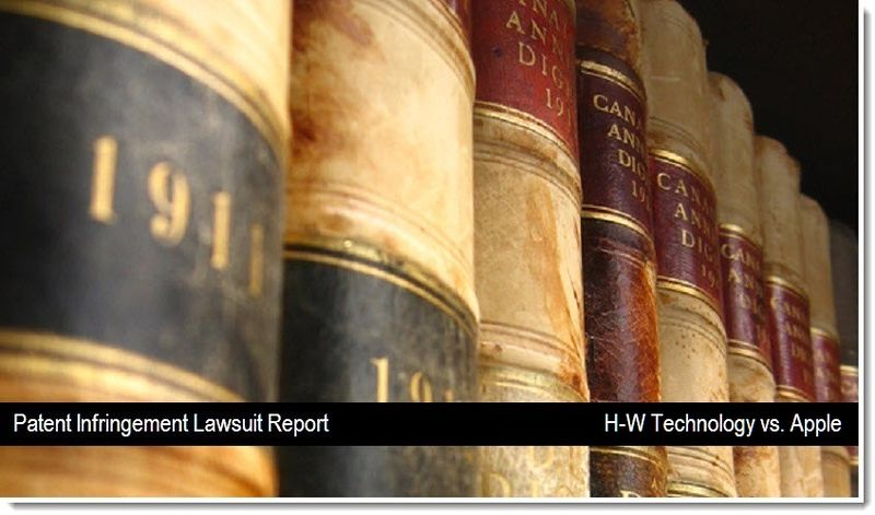 H-W Technology vs. Apple - patent infrngement lawsuit - mar, April 2011