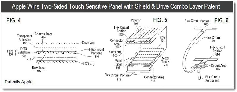 3 - Apple Wins Double Sided Touch Sensitive Panel with Shield & Drive Combo Layer Patent - Apr 5, 2011