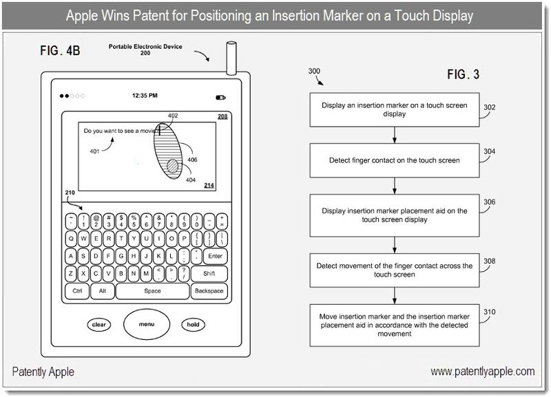 4 - Apple Granted Patent for Insertion Marker on a touch display - dec 2010