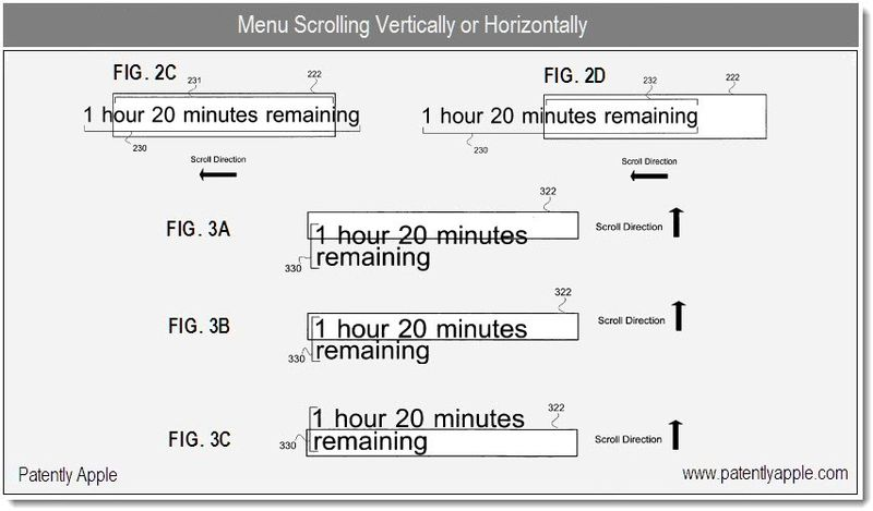 4 - Apple patent - menu scrolling Vertically or Horizontally