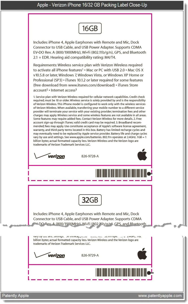 5 - C Out - Apple - Verizon iPhone labeling Close up - jan 13, 2011 FCC