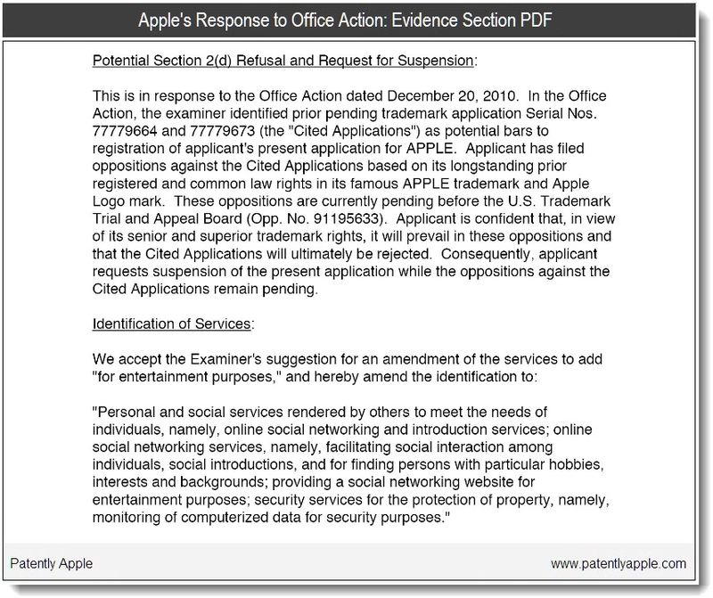 2 - Apple's Response to Office Action - evidence - Jan 2011 acceptance of change
