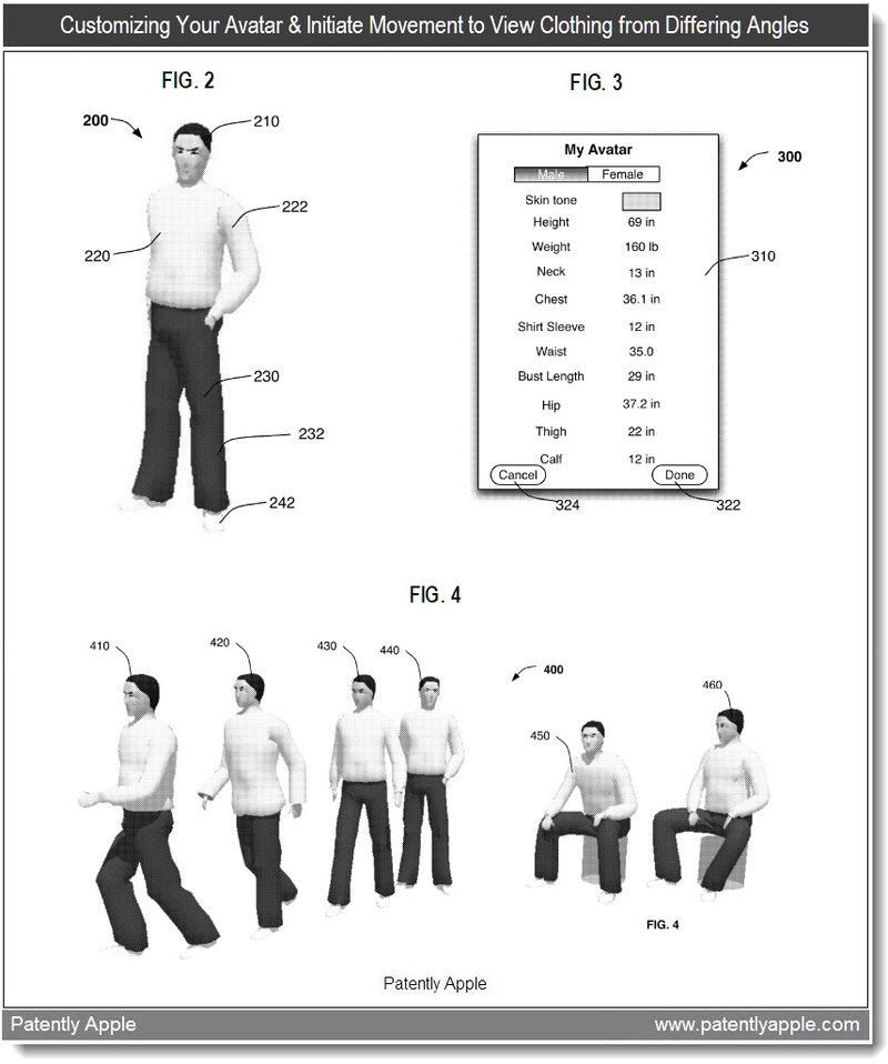 2 - Customizing your Avatar and initiating movement to view clothing from differing angles - apple patent jan 2011
