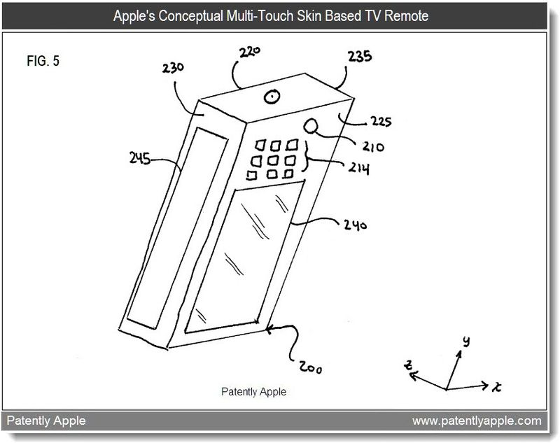 4 - apple patent - conceptual TV remote based on multi-touch skin technology