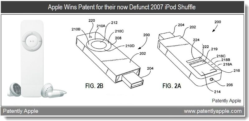 3 - Apple Granted patent for 2007 ipod shuffle - feb 2011
