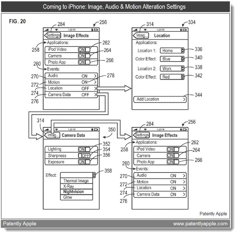 5 - FIG 20 - IMAGE AUDIO MOTION SETTINGS - APPLE PATENT FEB 2011