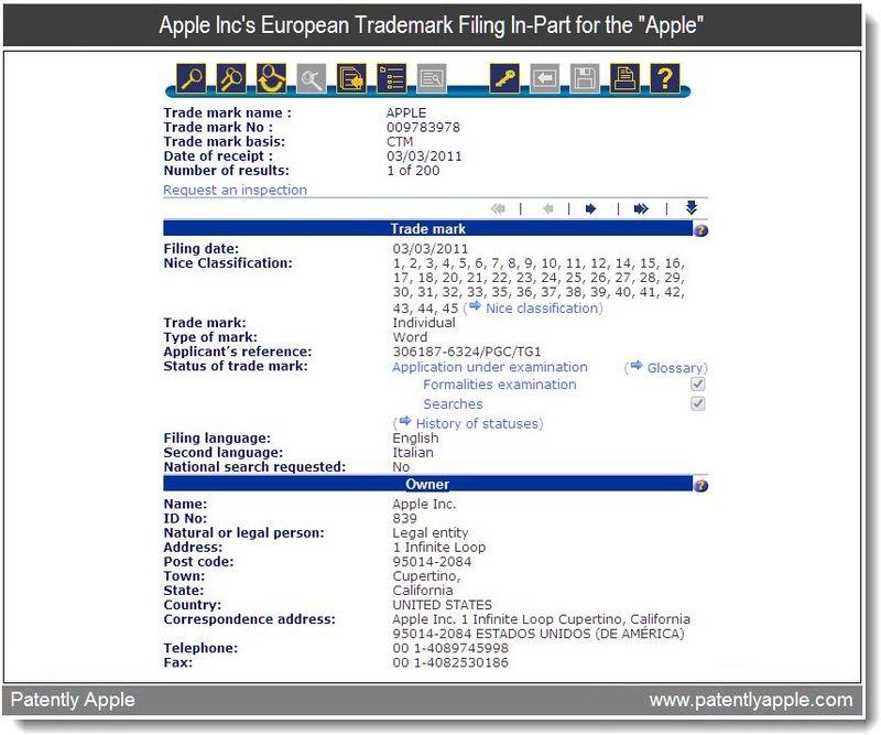 2 - Apple's Euro trademark filing in-part for Apple - Mar 4, 2011