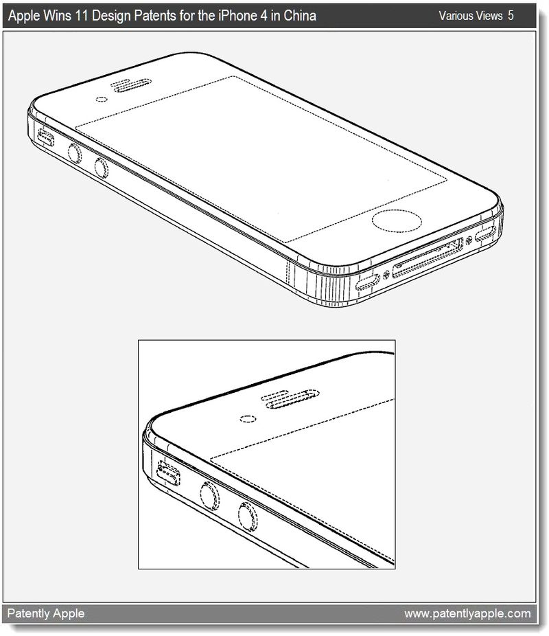 7 - apple wins 11 design wins for iPhone 4 in China, illustration of broken lines = not part of the design - march 2011