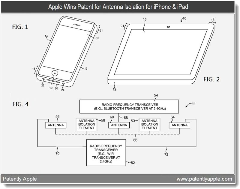 3 - Apple Wins Patent for Antenna Isolation for iPhone & iPad - March 2011