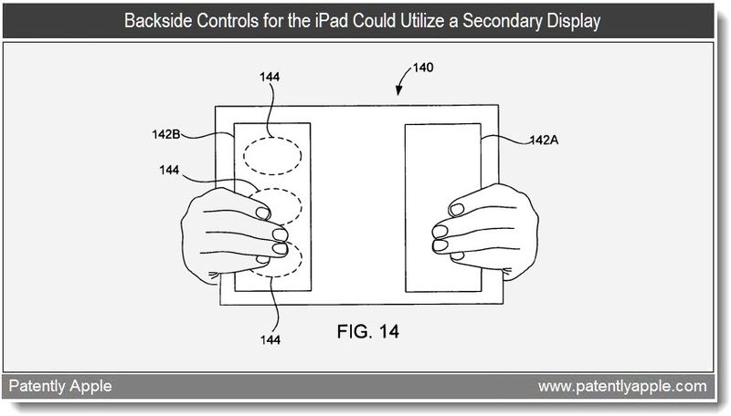 Extra Graphic from Previous patent showing backside controls on a tablet - apple 2010