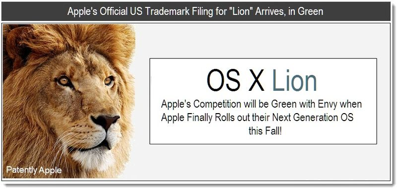 1 - Apple's Official US Trademark for Lion Arrives, in Green - April 12, 2011