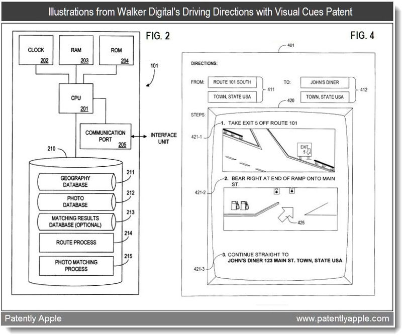 2 - illustrations form walker digital's driving directions with visual cues patent - patent infringement case - patent graphic