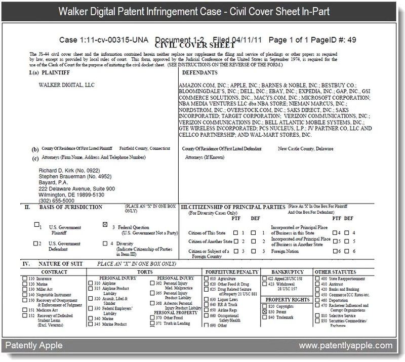 3 - civil cover sheet in walker digital vs Apple in second case about iTunes - april 2011
