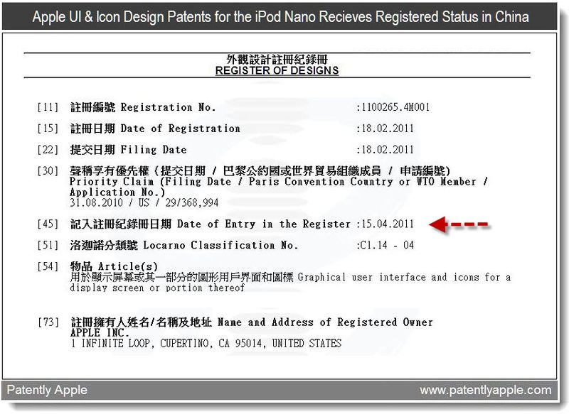 2b - register of designs in-part - Apple recieves ui and icon patents for ipod nano designs - april 2011