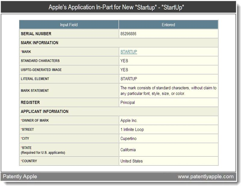 2 - Apple's application in-part for start-up - April 2011