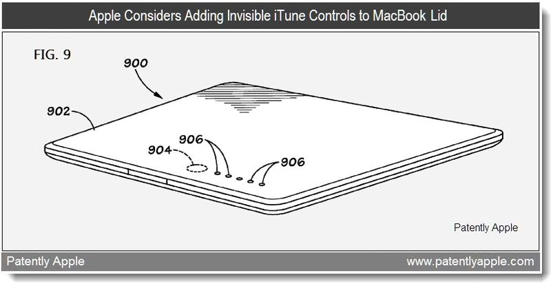 2 - Apple patent application - apple considers adding invisible iTune Controls to MacBook lid - feb 2011