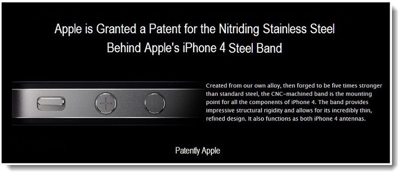 6 - Apple granted patent for Nitriding Stainless Steel process and end product for iphone 4 - mar 2011