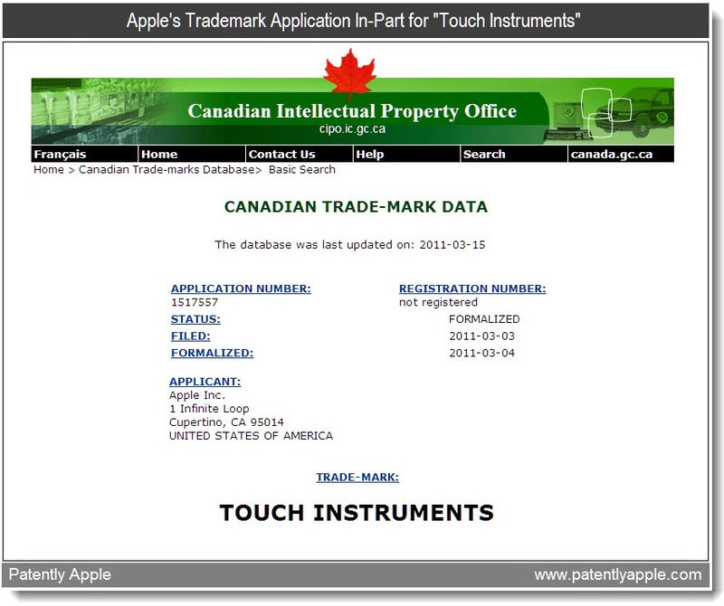 2 - Apple Inc's Trademark application in-part for touch instruments - march 2011
