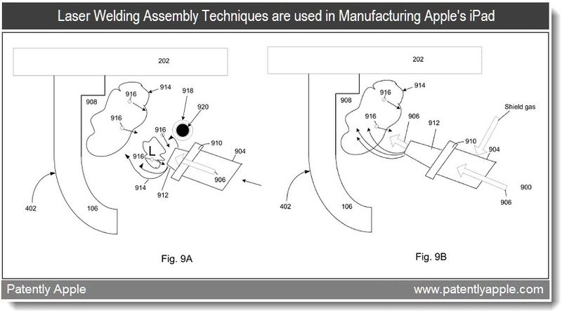 3 - Laser welding assembly techniques are used in Mfg Apple's iPad - 2011 patent