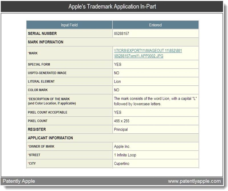 2 - Apple's Trademark in-part for Lion - April 2011
