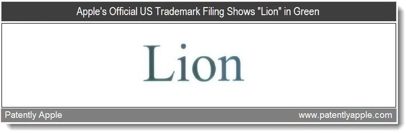 3 - Apple's Official US Trademark Filing Shows Lion in Green - April 2011