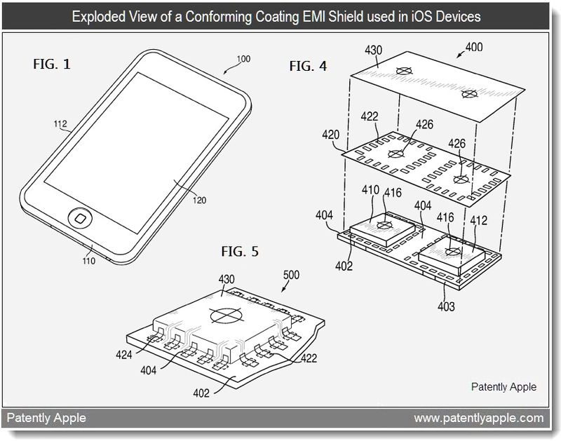 2 - Exploded view of a conforming Coating EMI Shield used in iOS Devices - Apple patent April 14, 2011