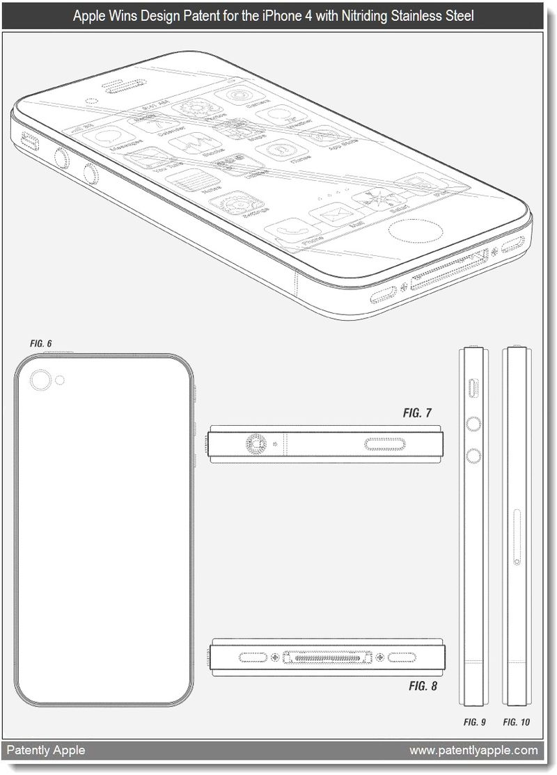 4 -  Apple wins design patent for the iPhone 4 with Nitriding Stainless Steel Band - April 2011