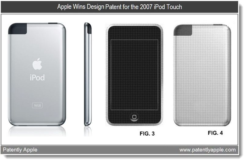 5 - Apple wins design patent for the 2007 iPod Touch - april 2011